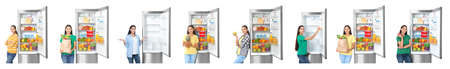 Set of woman near modern refrigerators on white background
