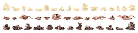 Conjunto de diferentes deliciosos rizos de chocolate y piezas sobre fondo blanco. Foto de archivo