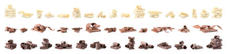 Set of different delicious chocolate curls and pieces on white background
