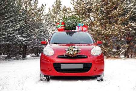 Car with Christmas tree, wreath and gifts in snowy forest on winter day Reklamní fotografie