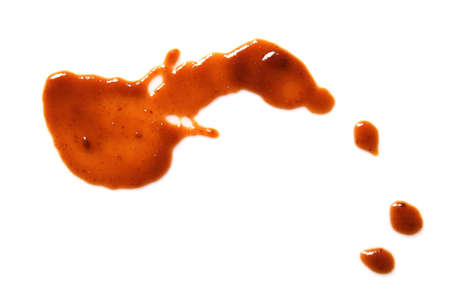 Drop of barbecue sauce on white background, top view