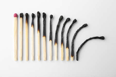 Row of burnt matches and whole one on white background, top view. Human life phases concept