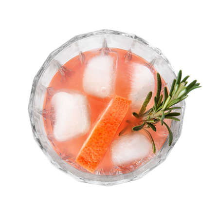 Glass of grapefruit cocktail with ice isolated on white, top view Banco de Imagens - 122078288