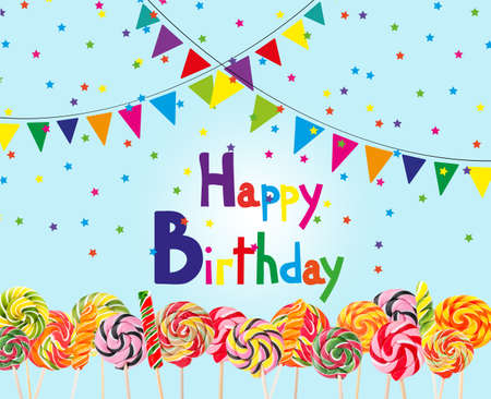 Delicious colorful candies on blue background. Beautiful birthday card