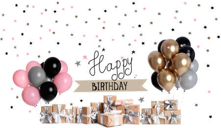 Many different gift boxes and stylish balloons on white background. Beautiful birthday card