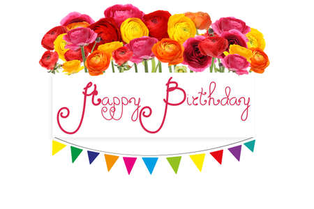 Beautiful birthday card with rannuculus flowers on white background