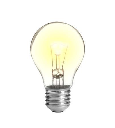 Bombilla de lámpara incandescente moderna sobre fondo blanco. Foto de archivo