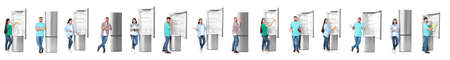 Set of people near modern refrigerators on white background