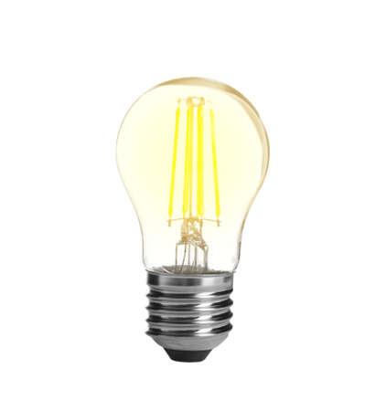 Modern glowing lamp bulb on white background