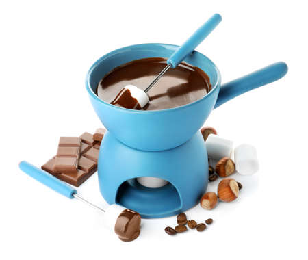 Fondue pot with chocolate and marshmallow isolated on white