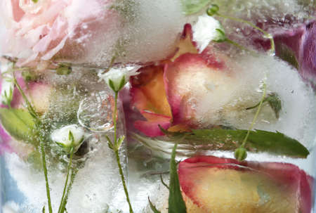 Glass of water with ice cubes and flowers, closeup Banco de Imagens