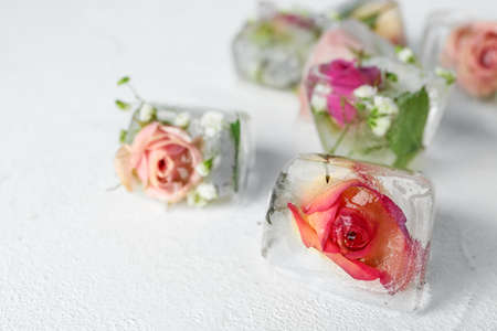 Ice cubes with flowers on white background, closeup. Space for text Banco de Imagens