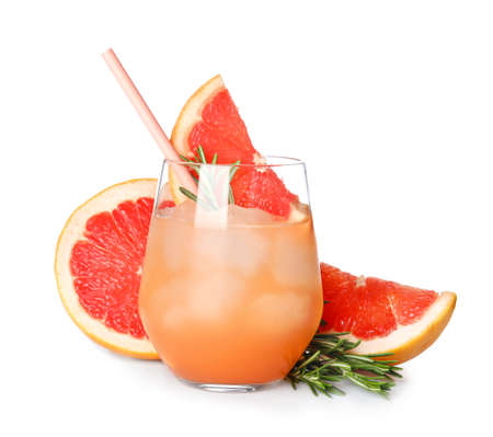 Glass of cocktail and grapefruit slices isolated on white Stok Fotoğraf