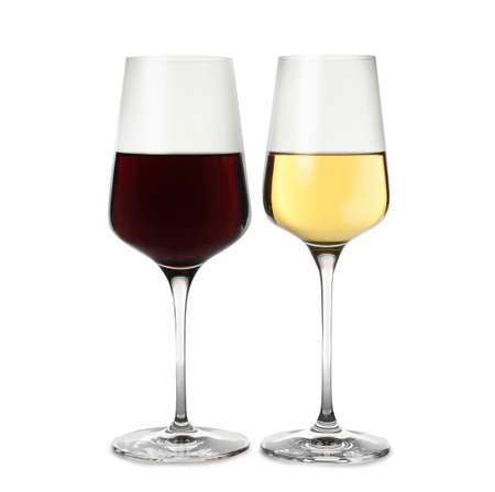 Glasses of different delicious expensive wines on white background 스톡 콘텐츠