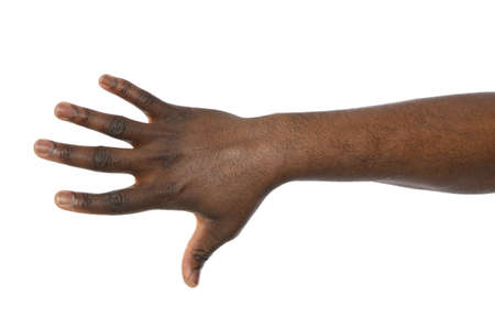 African-American man showing hand gesture on white background, closeup Stock Photo