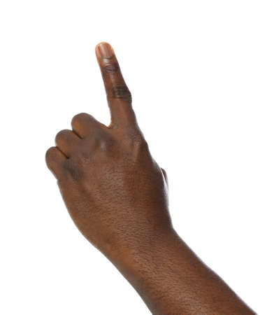 African-American man pointing at something on white background, closeup Banco de Imagens - 122433804