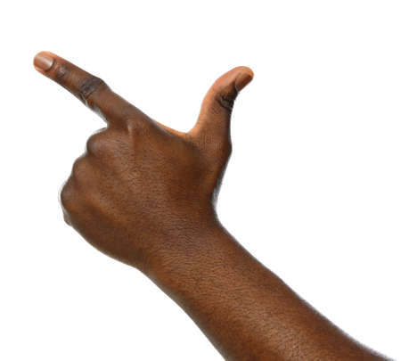 African-American man pointing at something on white background, closeup Banco de Imagens - 122433932