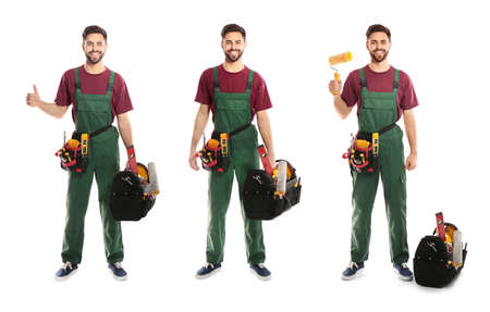 Collage of construction worker in uniform with different tools on white background 版權商用圖片