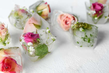 Ice cubes with flowers on white background, closeup