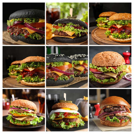Collage of different delicious burgers on tables Banco de Imagens