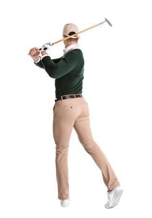 Young man playing golf on white background 版權商用圖片