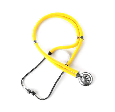 Stethoscope on white background, top view. Medical device Imagens