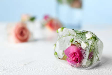 Floral ice cube on table, closeup. Space for text Banco de Imagens - 122514725