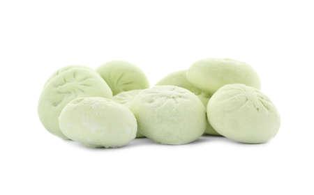 Heap of raw dumplings with tasty filling on white background Stok Fotoğraf