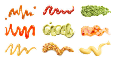 Set of different delicious sauces on white background, top view