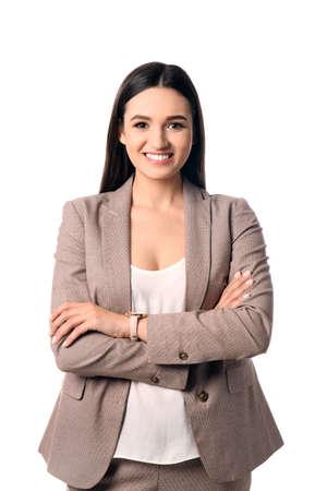 Portret van een gelukkige zakenvrouw die zich voordeed op een witte achtergrond