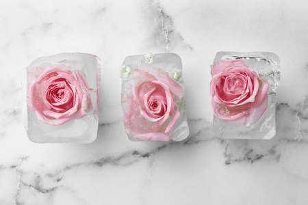Ice cubes with roses on marble background, flat lay