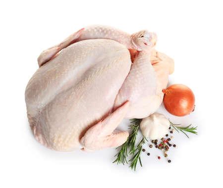 Raw turkey with ingredients on white background