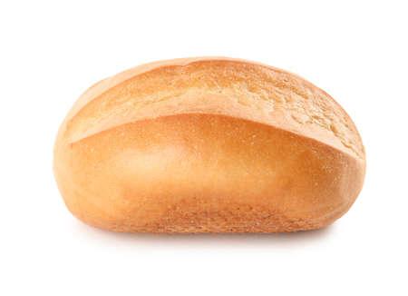 Geschmackvolles Brötchen getrennt auf Weiß. Frisches Brot