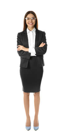 Full length portrait of businesswoman on white background