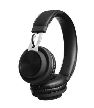 Stylish headphones with pads on white background Foto de archivo