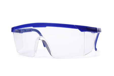 Protective goggles on white background. Construction tool