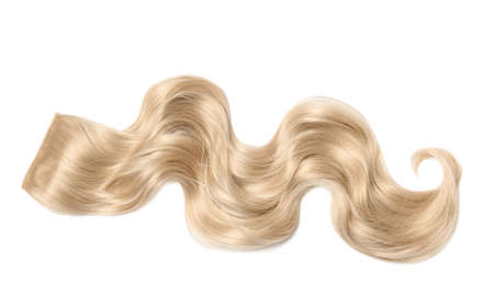 Lock of blonde wavy hair on white background, top view