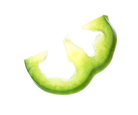 Cut fresh bell pepper on white background Imagens
