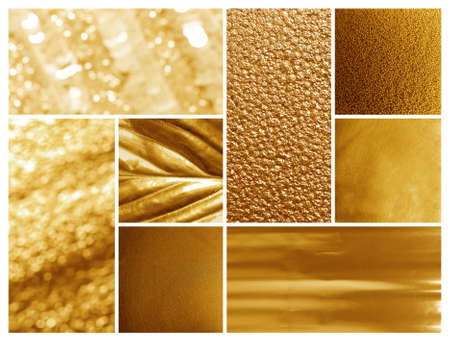 Collage of different textured shiny gold surfaces