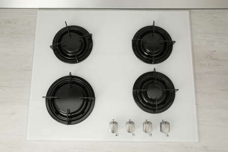Modern built-in gas cooktop, top view. Kitchen appliance