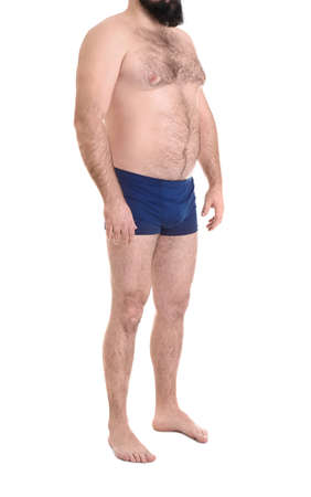 Overweight man isolated on white, closeup. Weight loss