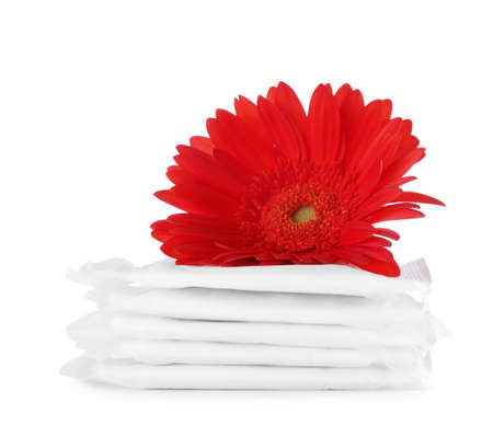 Stack of menstrual pads and gerbera flower on white background. Gynecological care Stock Photo