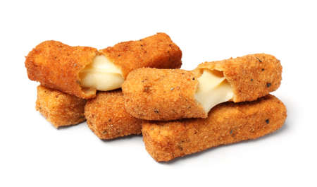 Pile of tasty cheese sticks isolated on white background 免版税图像