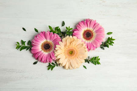 Flat lay composition with beautiful bright gerbera flowers on wooden background