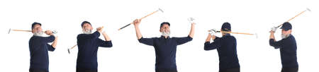 Collage of senior man playing golf on white background