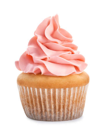 Delicious cupcake with cream on white background