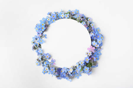 Composition with amazing forget-me-not flowers and blank card on white background, top view Reklamní fotografie