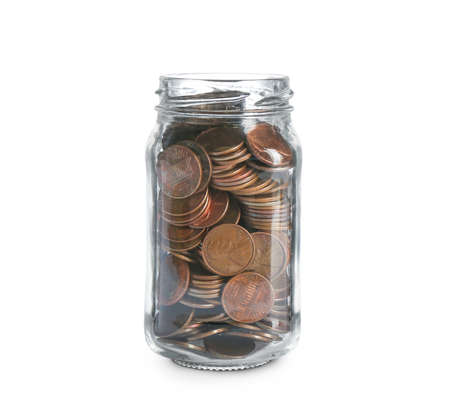 Glass jar with coins on white background. Money saving concept