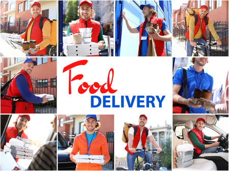 Set of couriers with orders. Food delivery service