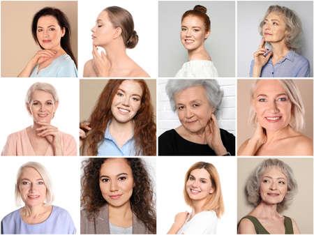 Collage de mujeres con bellos rostros sobre fondo de color Foto de archivo